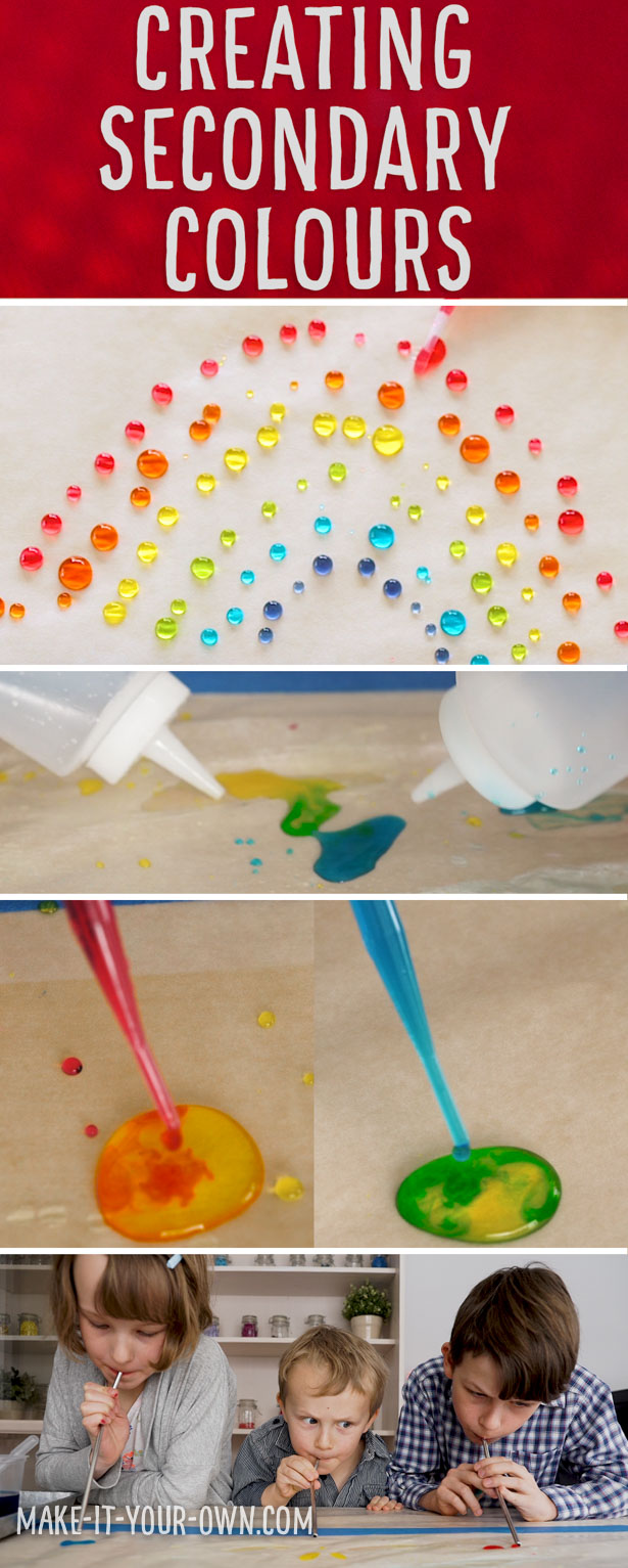 Create the secondary colours using only the primary colours in this fun activity that also strengthens fine motor skills with the tools used!
