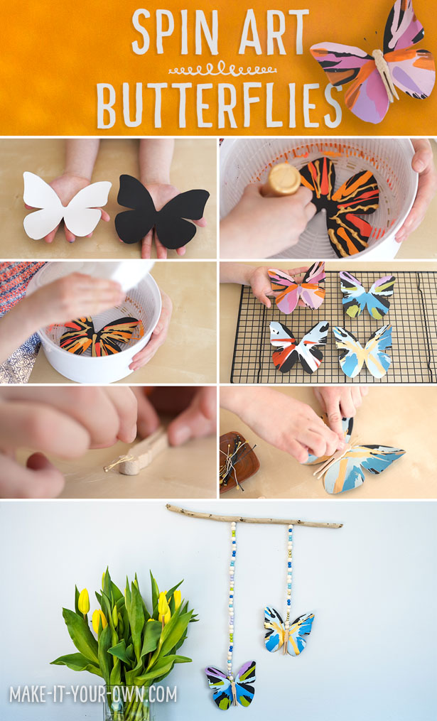 Spin Art Butterflies:  This art/craft project uses centrifugal force to create these beautiful painted butterflies!