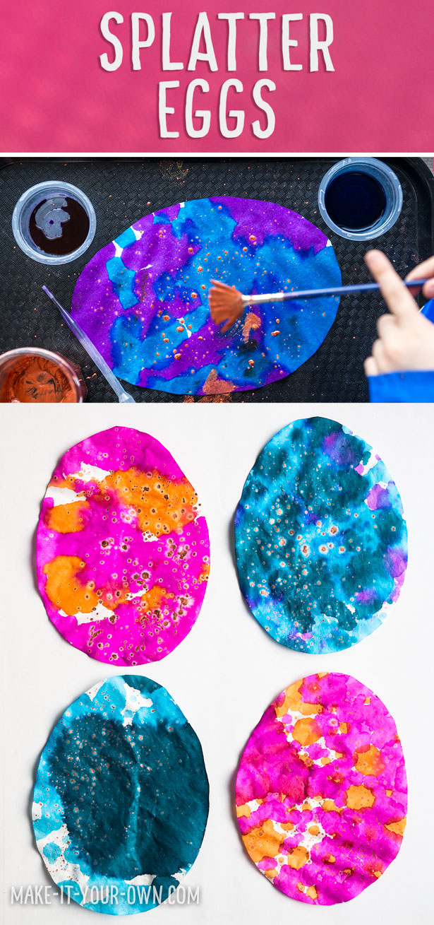 This SPLATTER EGG idea is great for small children to create a garland for Easter.  It uses pipettes or droppers to paint with, strengthening their fine motor skills.