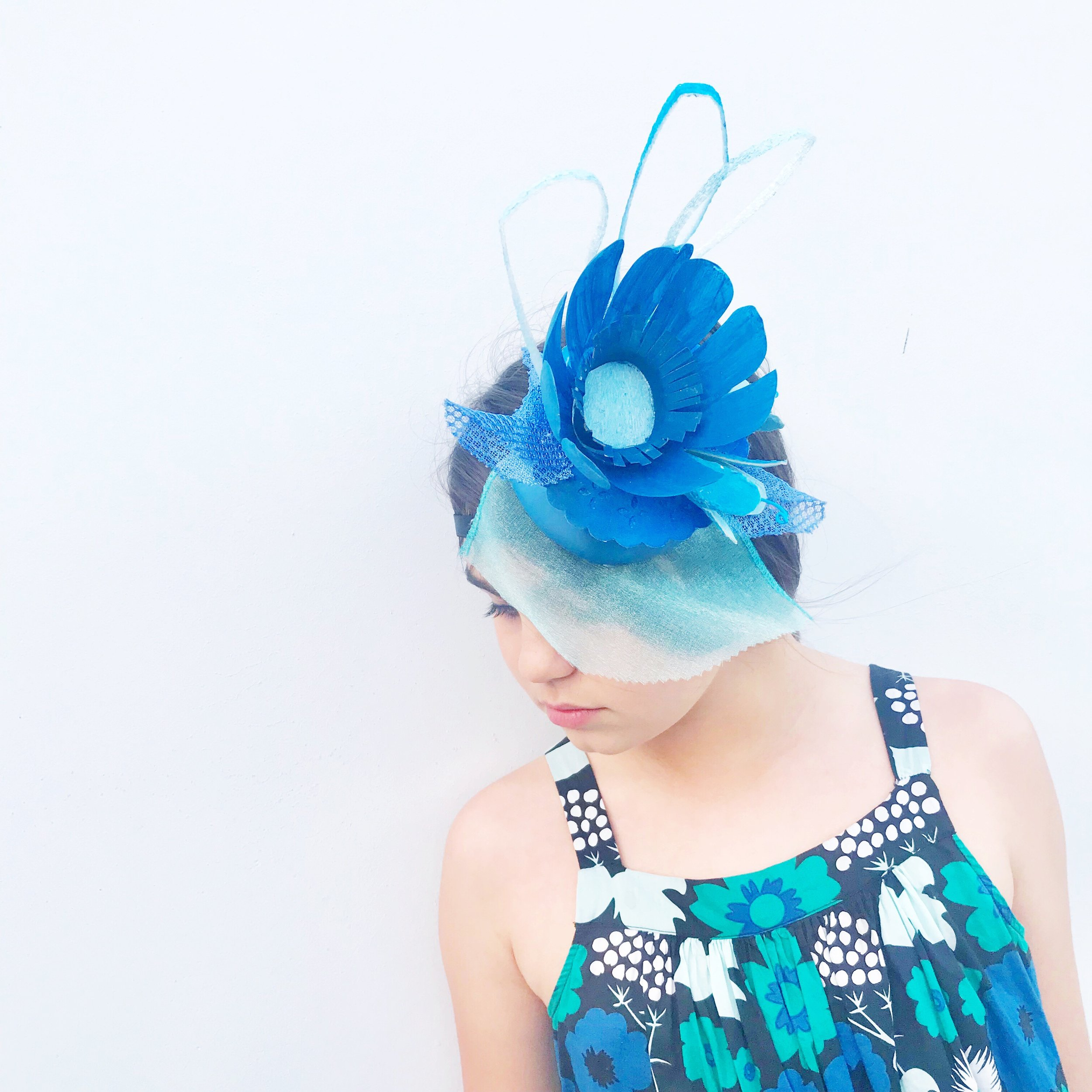 Up-cycled Blue Fascinator Art Camp LA