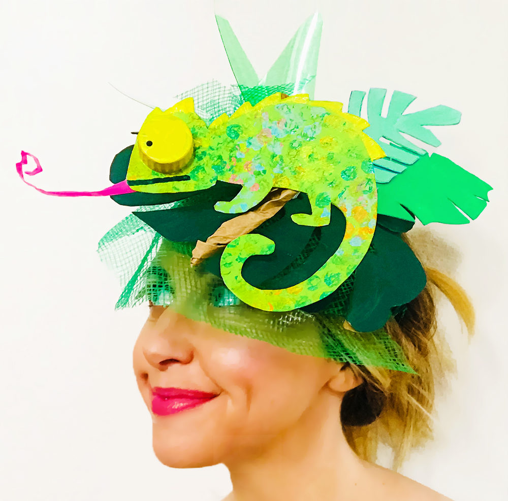 Green Upcycled Fascinator Barley and Birch