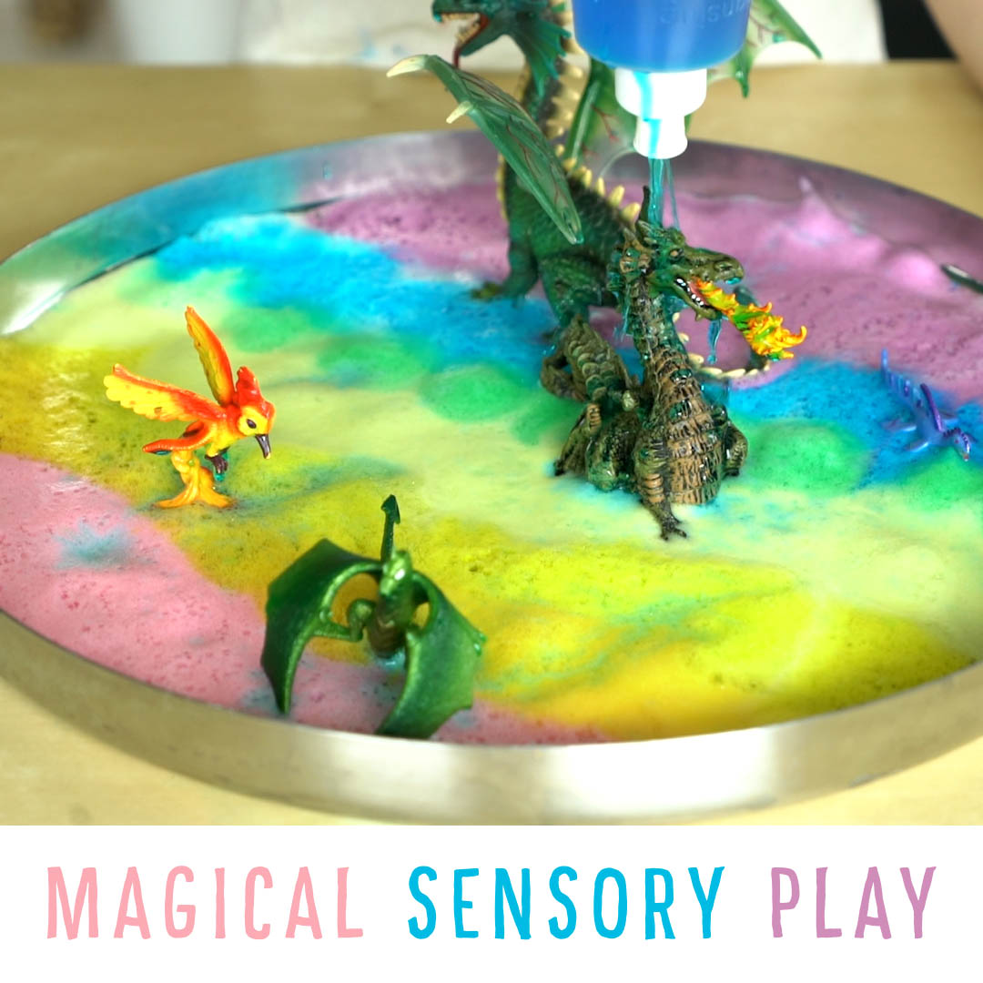 Magical Sensory Play:  Make a Magical Mushroom Brush, Rainbow Foam and Glittery Water to Wash Unicorns, Dragons, Pegai and all your magical creatures!
