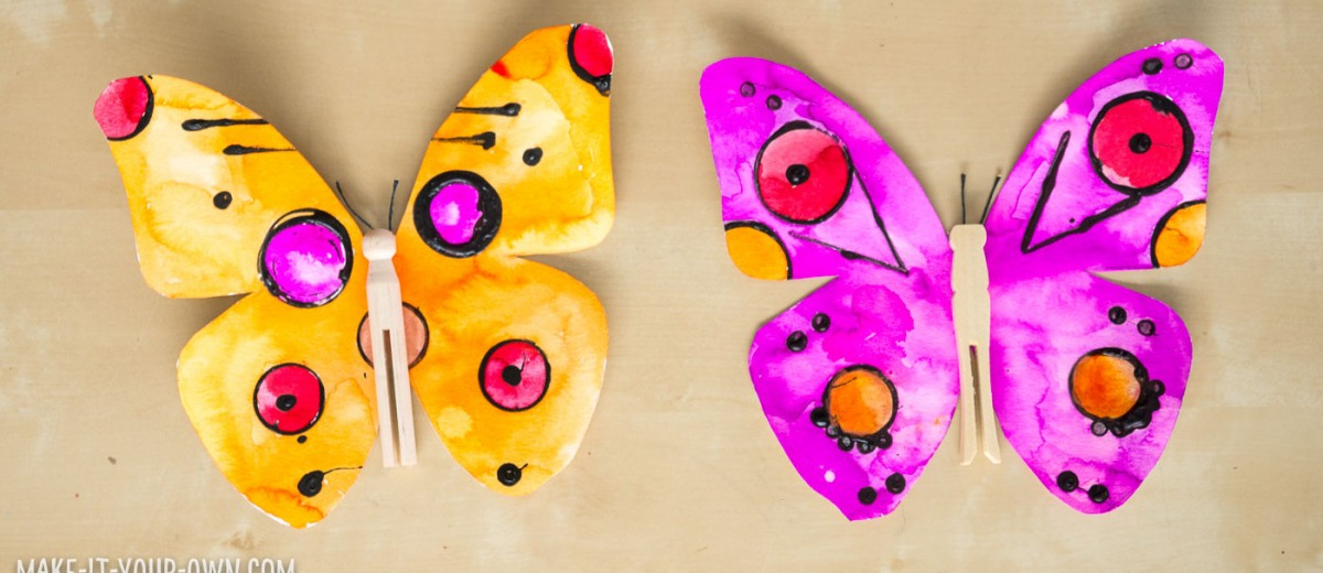 WATERCOLOUR BUTTERFLIES: Use recyclables to create prints with glue and then paint your butterfly with watercolour paints- a perfect project for children to celebrate spring!