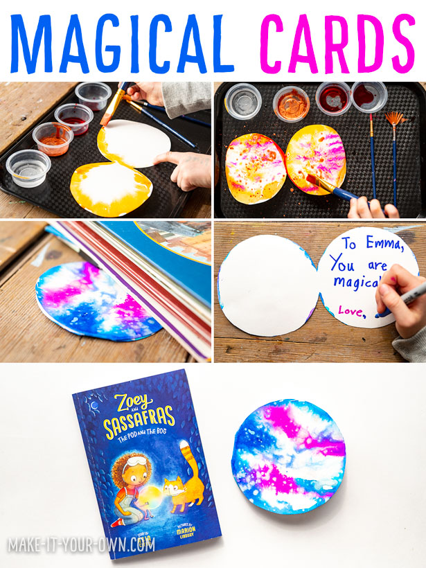 Magical Cards: Watercolours on a Wet Surface Inspired by Zoey & Sassafras- The Pod & the Bog!