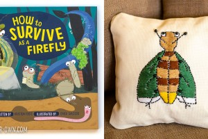 Embroider a Drawing: Inspired by the book How to Survive as a Firefly, we drew a firefly and then embroidered it!