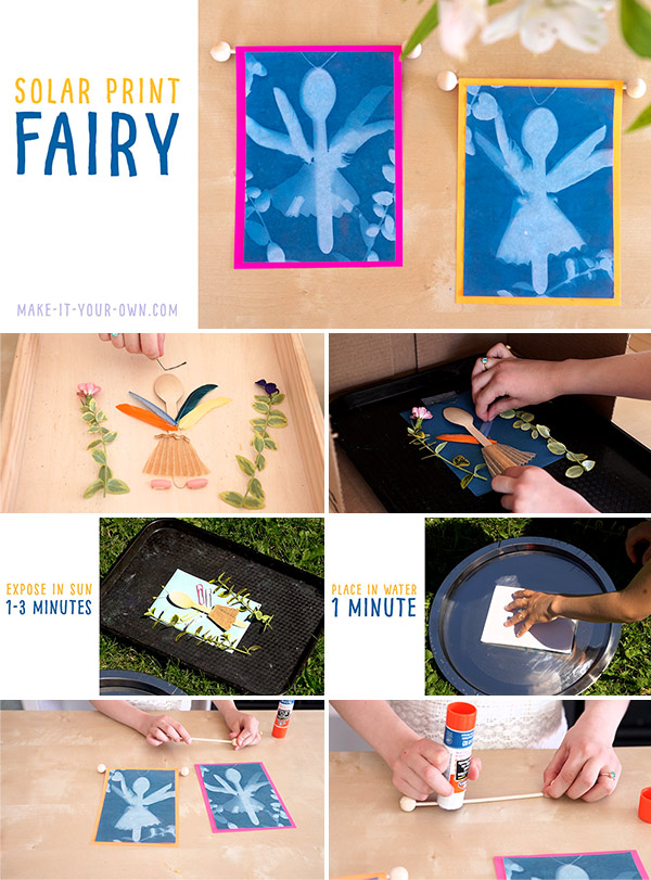 SOALR PRINT FAIRIES: Use solar paper, the sun and found/nature objects to create a fairy!
