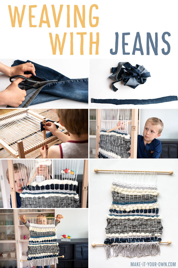 Weaving with Jeans:  Reuse your old or ripped jeans to weave with, creating this beautiful kid-made wall hanging!