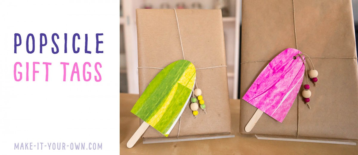 POPSICLE GIFT TAGS: Use scrape painting to create these handmade tags, perfect for summer birthday parties, host/hostess gifts or party or party invites!