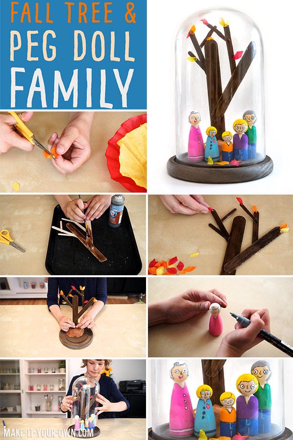 Make a Fall Tree with a set of peg dolls to go along with it- a beautiful family keepsake!