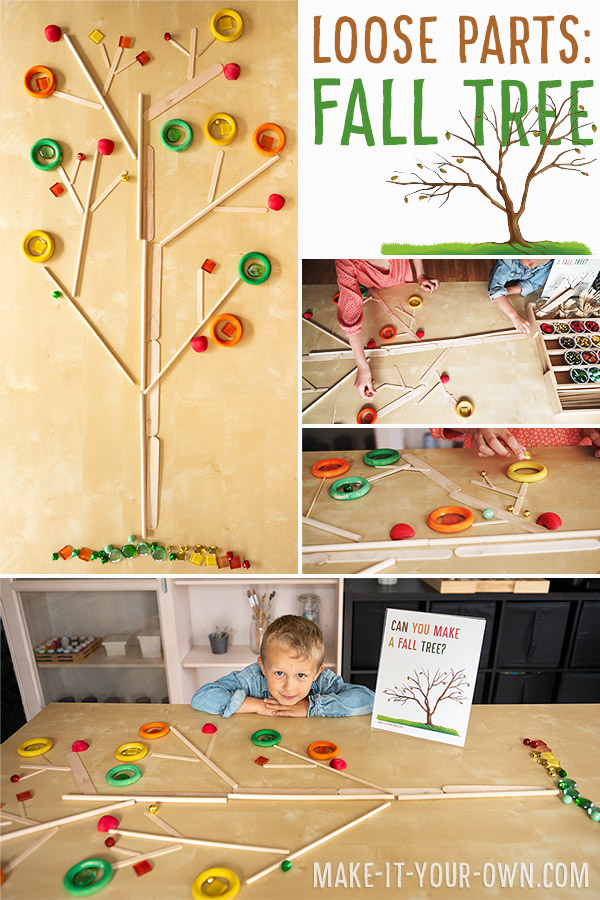 Fine Motor Fun:  Create a Fall Tree with Loose Parts!