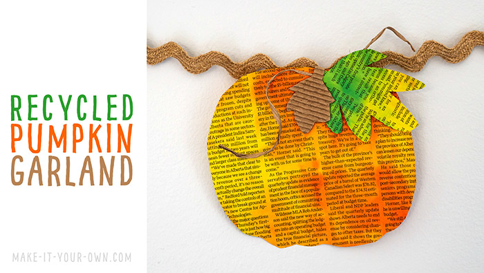Make this Fall PUMPKIN GARLAND out of newsprint and a bit of watercolour paint!