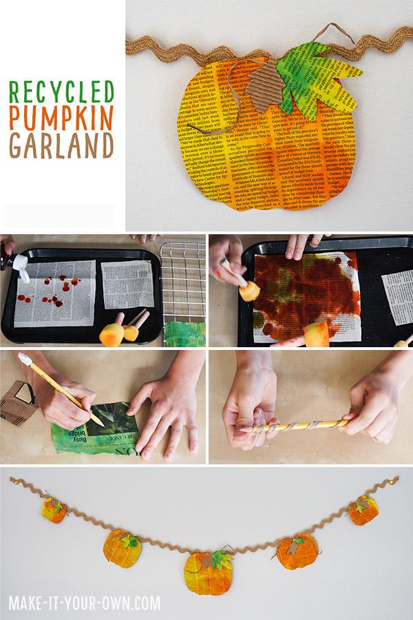 Make this Fall PUMPKIN GARLAND out of newsprint and a bit of watercolour paint!