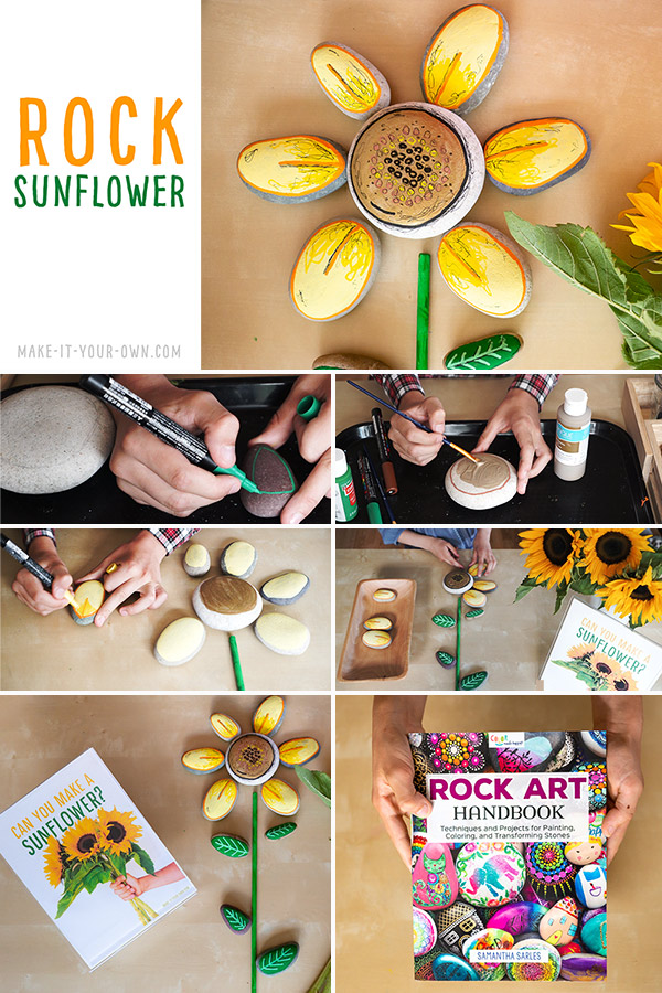 Create a ROCK SUNFLOWER inspired by nature and the ROCK ART HANDBOOK which details the best supplies and different types of creative rock painting projects!