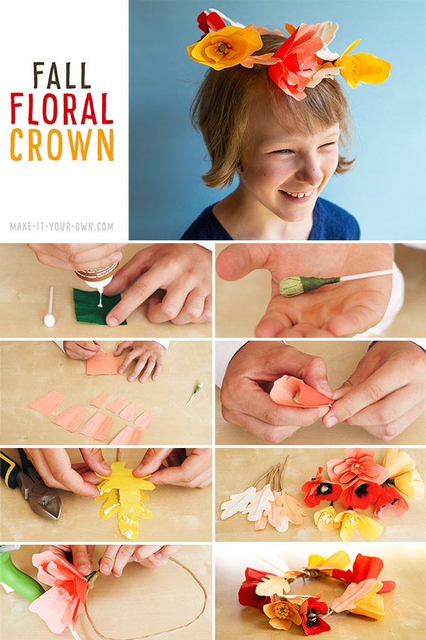 Make this crepe paper floral and leaf crown- perfect for Fall!  We show you three options:  how to make the flowers with crepe paper, coffee filters and cupcake lines for this beautiful Autumn crown that would be perfect for photo shoots, birthday parties and costumes!