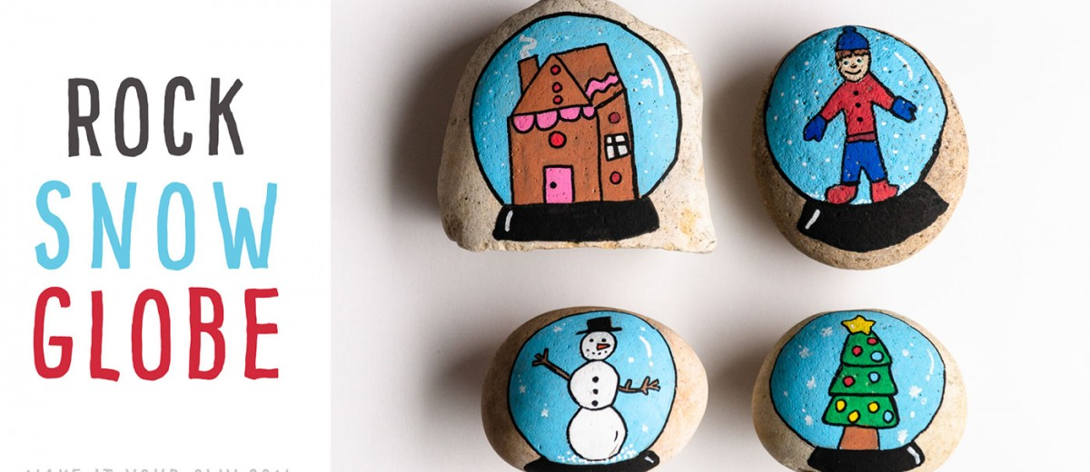 Painted Rock Snow Globe: We show you some simple techniques and materials to create these rock painted snow globes- perfect for a kid-made Christmas present! This craft would make a fun winter party idea!