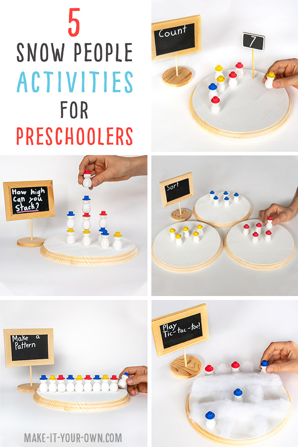 Snow People Learning Activities: Use wooden snow people to sort, count, stack, create patterns and play TIc-Tac-Toe!  These are great winter activities for preschoolers and kindergartens to  enhance their basic math skills in a hands-on way!