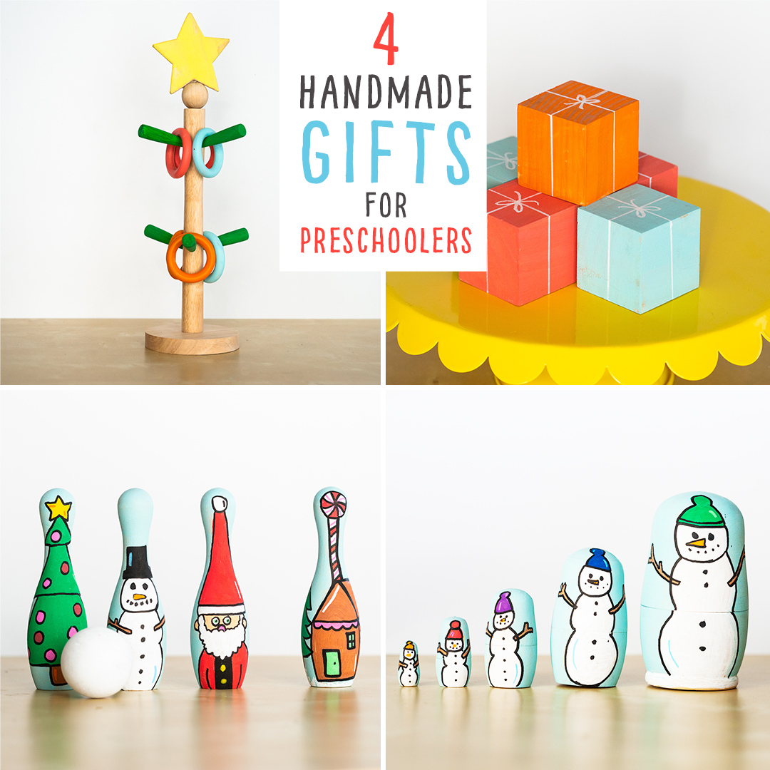 DIY Christmas Gifts for Small Children:  We show you 4 ideas for handmade gifts, perfect for Preschoolers or Kindergarteners to develop their motor skills 1) A Play Tree to decorate themselves 2) Block Presents to stack 3) Holiday Themed Nesting Dolls and 4) Christmas themed bowling pins