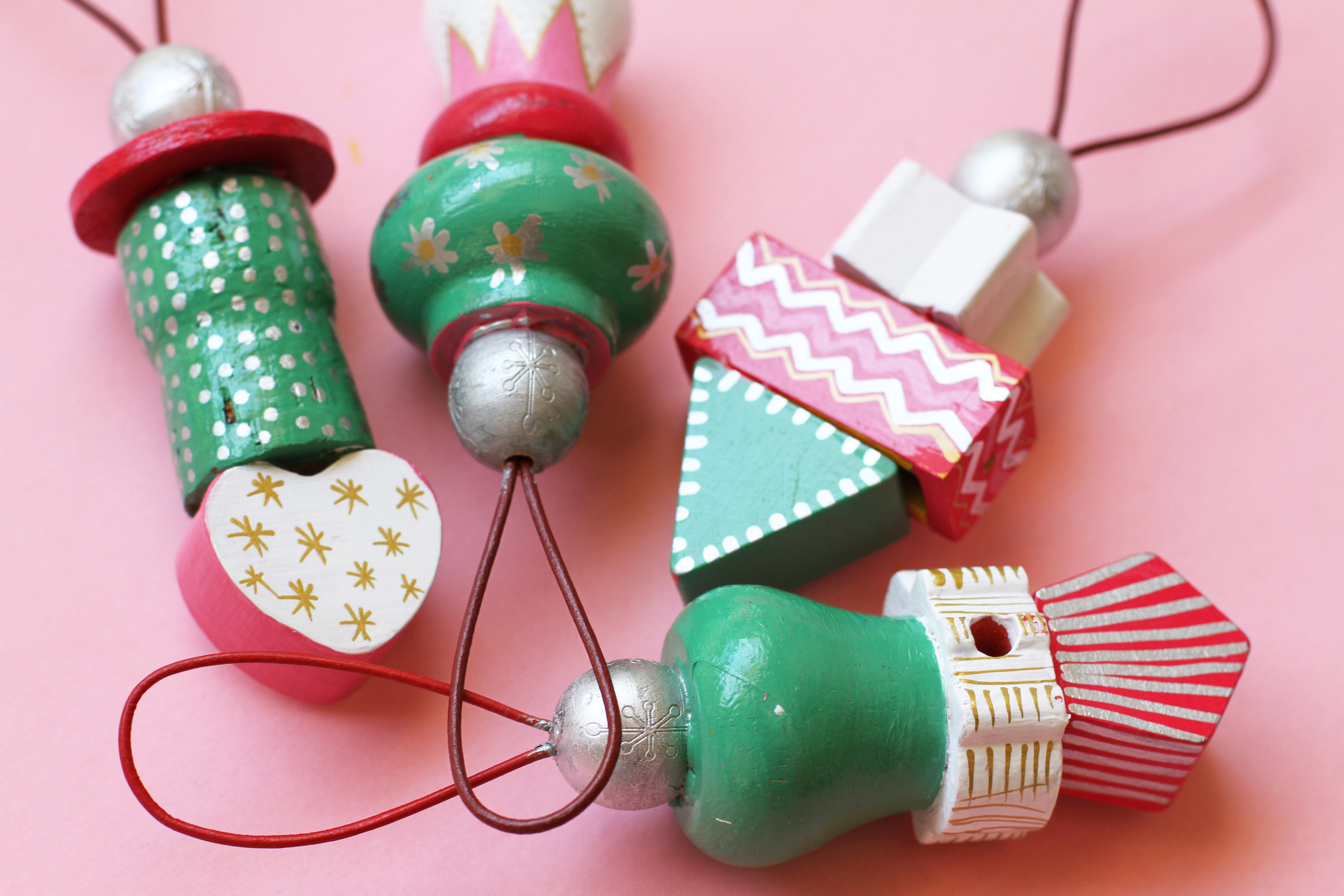 Painted Wooden Ornaments from Handy with Scissors
