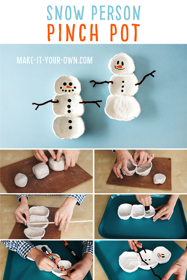 Snow Person Pinch Pot: We show you how to use air dry clay to make this lovely seasonal clay project! We have two methods- one that creates a matte finish and the other a glazed look without the firing! #snow #wintercraft #holidaycraft #christmascraft #clayproject #clay #snowpeoplecraft #snowmancraft