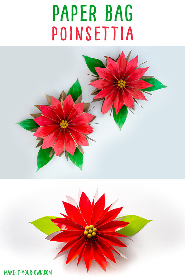 Paper Bag Poinsettias: Make a lunch bag flower with this Christmas craft!  These would make an inexpensive decoration for a holiday party! #christmascraft #kidscraft #poinsettiacraft #holidaycraft  #paperbagflower #paperbagcraft #craft #holidaydecoration #christmasdecoration