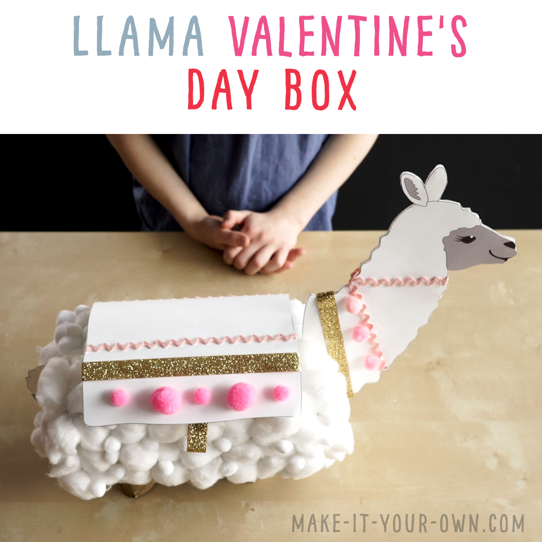 Transform a tissue box into a llama Valentine's Day box to hold all your cards and treasures!  This recycled craft comes with five free, printable templates for you to chose from and design and decorate!