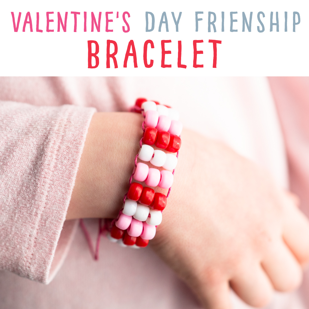 Make this beautiful beaded Valentine's Day friendship bracelet!  We provide you with a FREE, printable card to go along with your handmade craft gift!