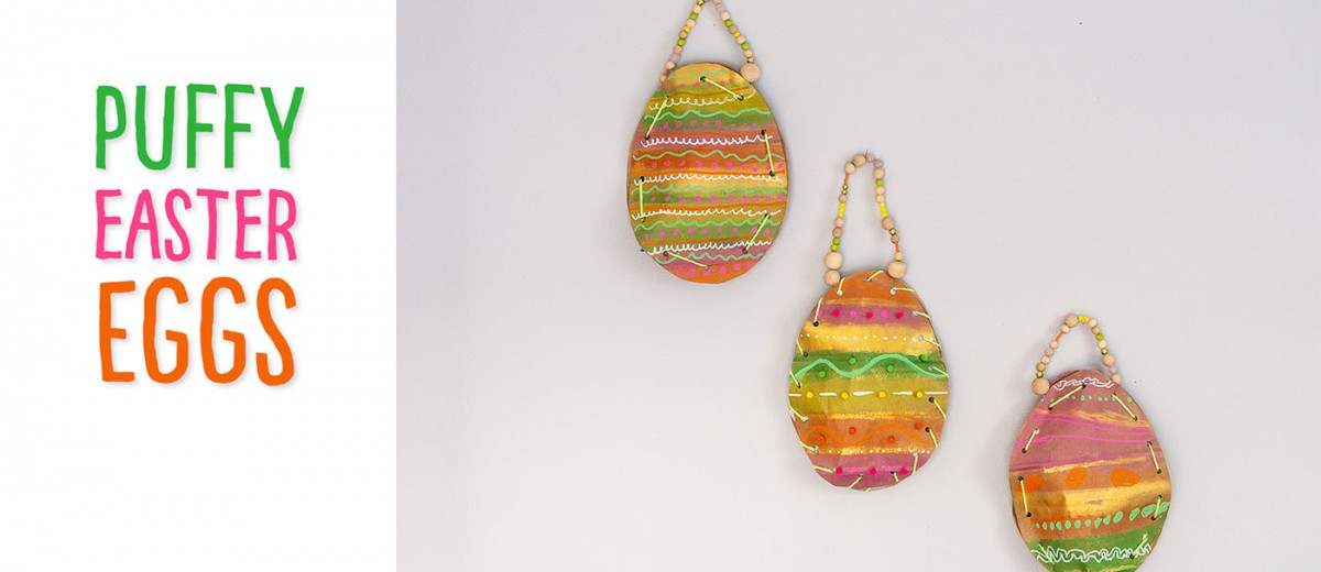 Re-use paper grocery or gift bags to make these sewn puffy Easter eggs! This spring craft project gets children exploring different types of lines and patterns and developing their fine motor skills with the sewing component!