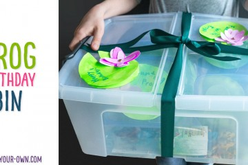 This is a fun kids' birthday present idea for learning and sensory play! The ideas included are: 1) Counting Frogs 2) Water Play 3) Play Dough Pond & 4) Goop. We provide you with a free lily pad printable card to include with your gift!