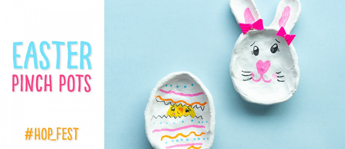Create an Easter Bunny or Easter Pinch Pot and learn about two different methods to decorate it! #Eastercraft #eastereggcraft #easterbunnycraft #airdryclay #pinchpots