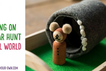 """Make this small world inside trays for the the book, """"We're Going on a Bear Hunt"""" to assist your children or students with learning about prepositions and exploring the various scenes of the book. We made peg doll characters of ourselves to play with inside of the story."""