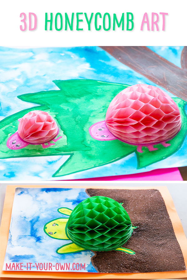 Re-purpose party supplies as a creating prompt by taking honeycomb decorations and turning them into 3D creations!