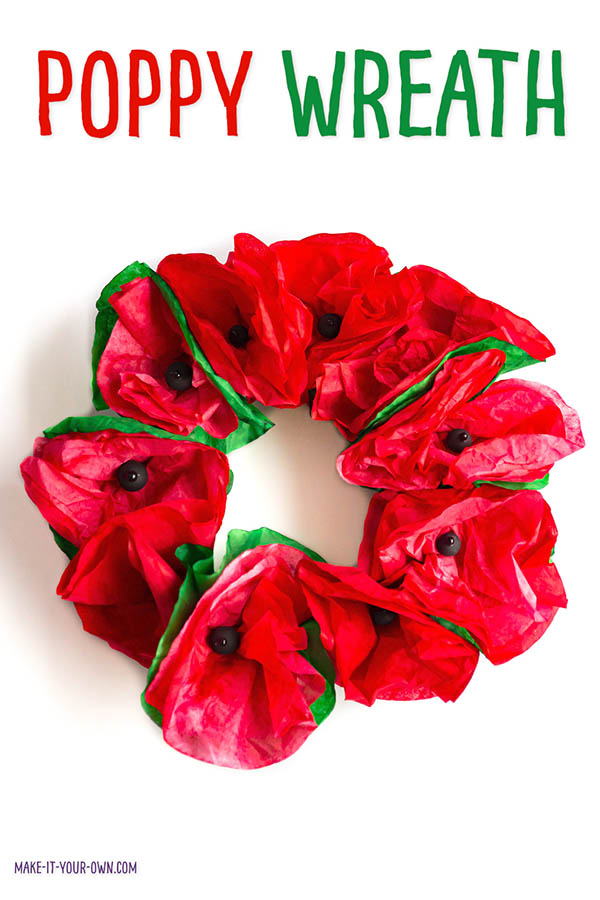 Make this easy and inexpensive coffee filter wreath for Canada's Remembrance Day. Inspired by the poppies of John McCrae's In Flanders Field poem. #remembranceday #remebrancedaycraft #poppy #poppycraft #coffeefilter #coffeefilterflowers #coffeefiltercraft #wreath #coffeefiterwreath #coffeefitlerflowers #anzacday #anzacdaycraft