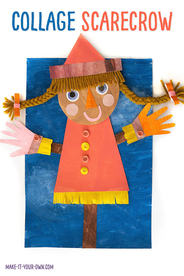 This Fall art project is a great way to explore creating different types of texture with paint, recycled magazines and crafting materials you may already have at home! Make a scarecrow to hang up in your classroom or frame at home with these tips to get your started on this Autumn art piece! #scarecrow #scarecrowart #fallart #autumnart #kidscraft #craftsforkids #fallcraft #autumncraft #recycledart #recycledcraft