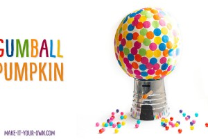 Instead of a jack-o-lantern, this Halloween idea lets you be creative without carving your pumpkin! With a few inexpensive supplies, you can transform your pumpkin into this simple gumball machine! #nocarvepumpkin #gumballpumpkin #gumballmachinepumpkin #pumpkindecorating #pumpkindecoratingidea #pumpkindecoratingforkids #pumpkinidea #halloweenpumpin #jackolantern
