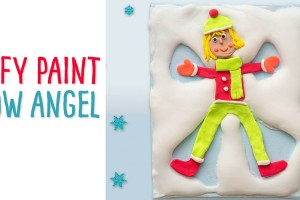 Make yourself with Crayola model magic and puffy paint to create this winter art piece! This craft is a great way to get children working with different types of clay and makes a perfect Christmas gift! #snowangel #snowangelcraft #wintercraft #winterart #wintercraftforkids #winterartforkids #christmascraft #christmasart #christamsartforkids #christmascraftforkids #modelmagic #crayolamodelmagic #kidscrafts #kidsart #childrensart #childrenscraft #puffypaint