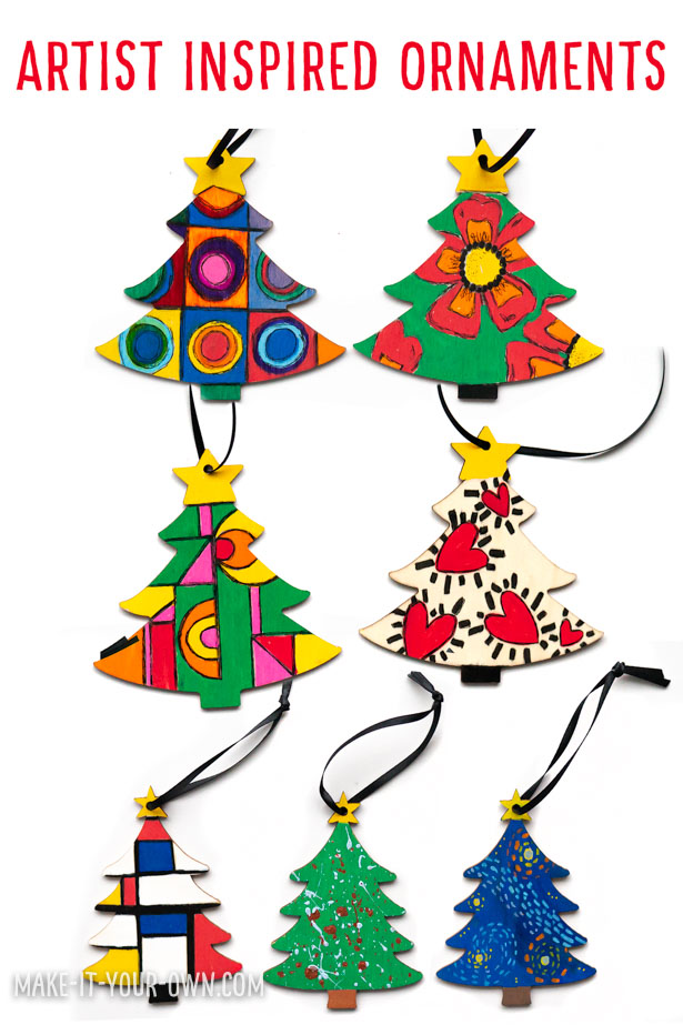 Make these artist inspired Christmas Tree ornaments for a handmade holiday gift! We feature ones inspired by: - Georgia O'Keeffe - Sonia Delaunay - Henri Matisse - Vincent Van Gogh - Piet Mondrian - Jackson Pollack - Yayoi Kusuma - Wassily Kandinsky - Keith Haring - Kenojuak Ashevak We show you a few tips to make children's Christmas craft one that you can give to friends, neighbours, teachers and family to hang on their holiday day tree! This kid's craft encourages children to explore and recreate in the style of well known artists, so that they can start to identify some of their famous pieces and characteristics of their personal style!