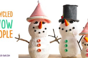 Re-use juice containers to make these three dimensional snow people! This recycled craft is one that children can personalize with items that you have at home, along with a bit of Model Magic. Make a snowman, snow woman and baby to create a whole snow person family for a winter craft scene.