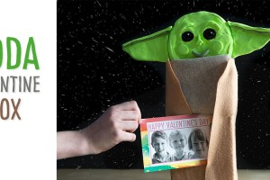 Baby Yoda Valentine's Day Box: Transform an old tissue box into this cute baby Yoda to hold your Valentine's Day cards! We show this recycled Valentine's day craft for kids which is sure to make classmates smile. With a kleenex box, some felt, buttons, a cheese wheel and model magic, you too can create your own baby Yoda project to hold your Valentines.