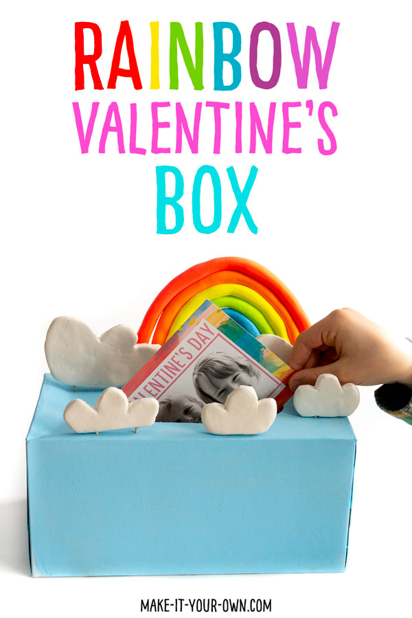 Transform a tissue box into a box to collect Valentine's Day cards! Make the rainbow and the clouds out of Crayola Model Magic to turn your box into the sky.  This Valentine's day recycled craft is sure to bring a smile to kids' faces and includes a free printable card you could attach to rainbow crayons, bead to make a necklace or a paint palette!  Find the details here: http://make-it-your-own.com/rainbow-valentine-box-card/