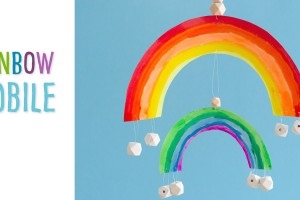 Rainbow Mobile: Make this mobile or wall hanging with our free printable. This St. Patrick's Day craft is one that you can colour, paint, collage etc. using whatever crafting materials you have on hand. If you make this rainbow craft, we'd love to see what you've done with yours!