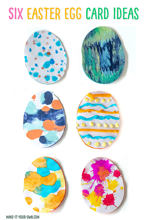 We show you 6 different painting techniques for kids to make their own handmade Easter egg cards!  With the free template and some suggestions to get you started, this kids' craft is sure to be a keepsake!  This Easter craft is good for children in Preschool, Kindergarten and Elementary School.  Which process will you try to decorate your Easter egg?