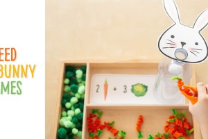 Feed the Bunny: Counting and Additions Games. With the provided printables children can feed the Easter bunny while practising their number sense and numeration skills. There are two options- one activity to count the carrots or cabbages (we show you how to make them) and another to add the groups together. The first activity allows children to practise their one to one correspondence skills and the second basic addition, by combining two groups. These hands-on games with clear visuals are great for children in Kindergarten and Grade 1 (and those in preschool looking for a challenge)! The theme ties into both spring and Easter and is easy to set up with a few materials!
