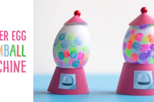 Gum Ball Machine Easter Egg: We provide you with a free template to make this Easter egg decorating idea for kids which uses their very own fingerprints- what a cute keepsake (especially for Grandma or Grandpa)! Use your fingers and a non-toxic stamp pad to decorate eggs to look like a gum ball machine!