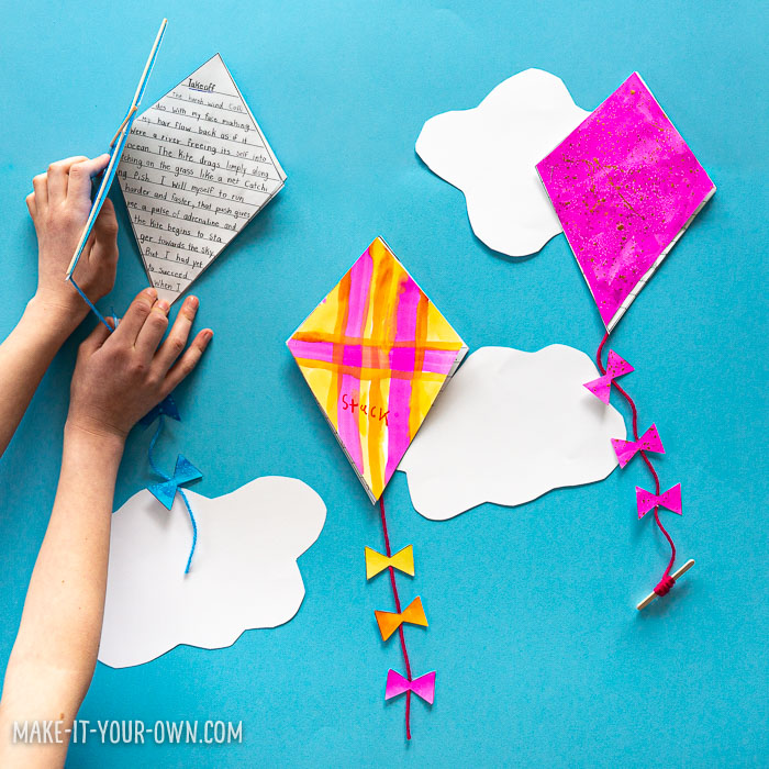 Kite Writing Activity for Kids: We provide you a planning template and kite template to create a booklet to write a story about a kit