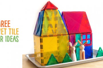 We have 3 activities for you using Connetix Magnet Tiles: 1) An Easter Egg Hunt Building Challenge: Print the egg cards, pop them into Easter eggs and hide them for a friend to find. Once you find them, build 2 or 3D Easter ideas from the cards. 2) Easter Egg Pin Ball Machine: Use the magnet tiles to set up an obstacle course to move your ball around in. With the point cards, try to see if you can get up to 100! 3) Build the Easter Bunny a Home: With your magnet tiles, build the Easter bunny a dwelling!