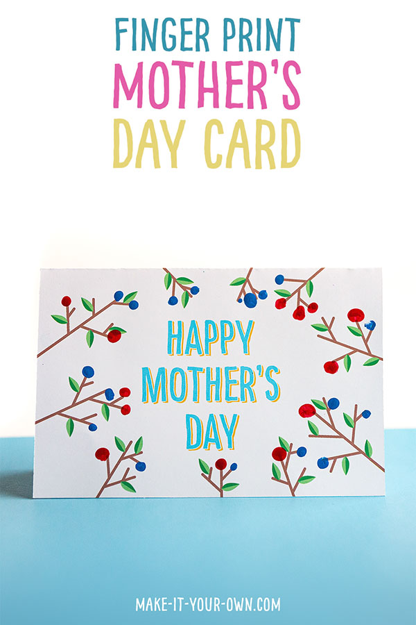 Use a stamp pad or paint to create flowers or berries with your fingerprints for this keepsake card for Mother's Day!  Make this for your mom, Grandma, aunt or special mentor in your life!
