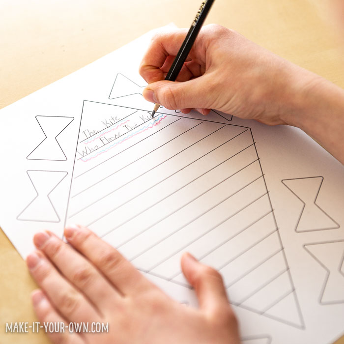 Kite Writing Activity for Kids:  We provide you a planning template and kite template to create a booklet to write a story about a kite!