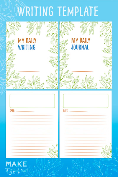 Free Journal/ Daily Writing Template that can be used for daily journaling, narrative, persuasive or informational writing