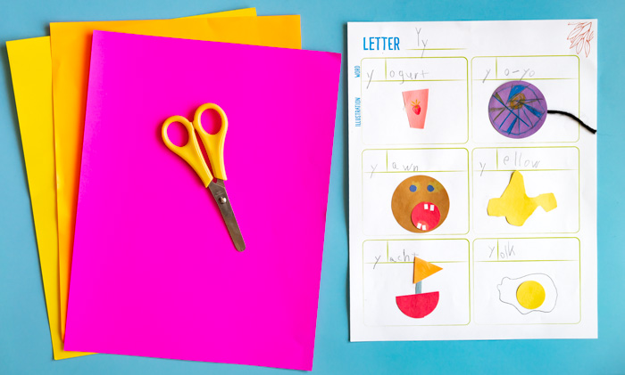 Alphabet Booklet:  Make this booklet to allow children to become familiar with the starting sounds of various words.  We show you 4 options: 1) Add illustrations 2) Cut out corresponding images from magazines. 3) Cut out images from construction paper 4) Take photos of items, print them and add them to your book!  #alphabet #alphabetbook #alphabetprintable #visualdictionary #preschool #playschool #kindergarten #letters #letterbooklet #letterbook