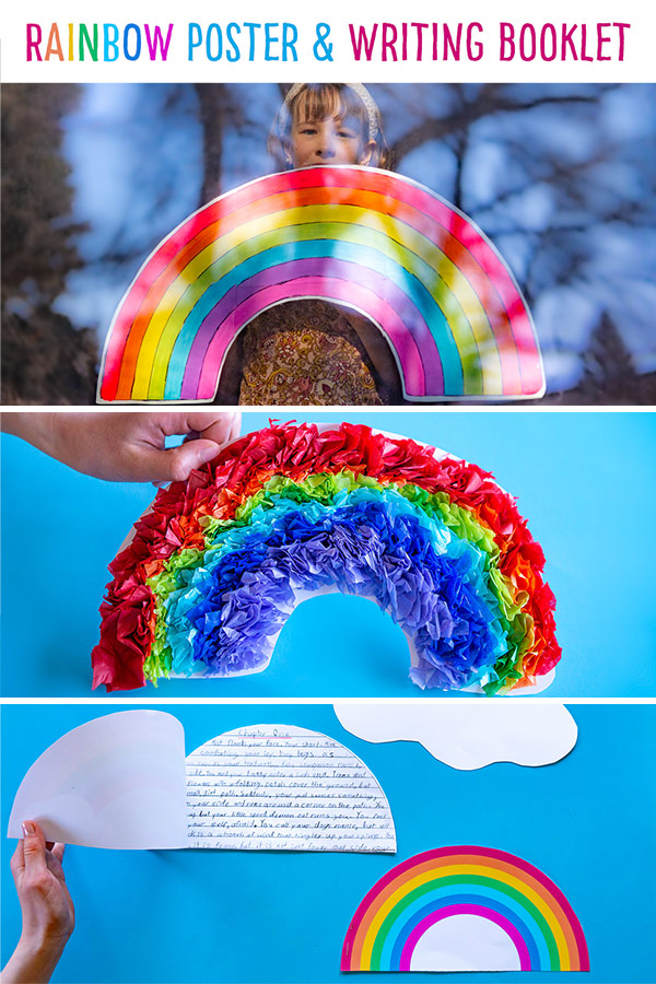 Print out free templates to make a giant rainbow to hang in your window or on your wall with these printables.  (We have options for a 1 page, 4 page and 6 page version).  There is a coloured version to decorate (we show you one idea with scrunched tissue paper) with craft supplies (you could use buttons, beads, poms poms etc.) or a blank version for you to paint or colour.   Along with this, we have a rainbow writing booklet where you can write a rainbow narrative (we include a story planning sheet), describe how a rainbow is made (informational writing) or write a thank you note! #rainbow #rainbowprintable #tissuepaperrainbow #rainbowwrtitingbooklet #rainbowtemplate